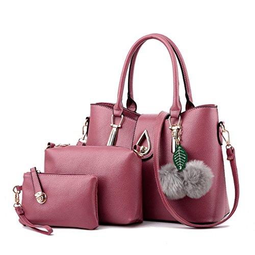 Le signore di modo un insieme tre parti della borsa di cuoio della borsa della borsa della borsa della borsa dell'unità di elaborazione delle donne Rosa scuro