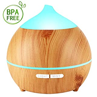 Avaspot Essential Oil Diffuser, 250ml Wood Grain Ultrasonic Aromatherapy Diffuser with 7 Colorful LED Light, Auto Shut Off, Adjustable Mode Aroma Diffuser for Baby, Yoga, Spa, Home, Office