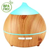 Avaspot Essential Oil Diffuser, 250ml Wood Grain Ultrasonic Aromatherapy Diffuser with 7 Colorful