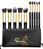 Qivange Make Up Brush Synthetic Kabuki Makeup Brushes Cosmetic Foundation Eyeshadow Blush Concealer Powder Brush Makeup Brush Kit (10pcs, Black Golden)