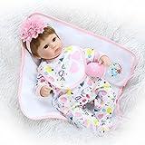 Yesteria Reborn Babys Mädchen Lebensechtes Kleinkind Silikon Outfit mit Weißem Schönem Kleid 40 cm