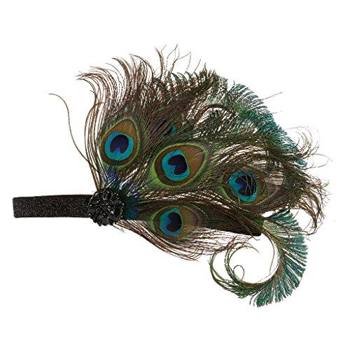 Gazechimp Pfau Feder Haarband Hochzeit Kopfband Gatsby 1920er (Für Kostüme Frauen Pfau)