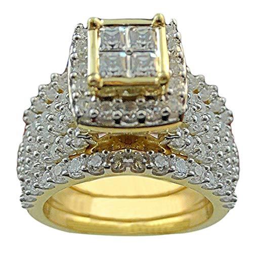 YESMAEay Verlobungsringe für Frauen Europäischer und Amerikanischer Luxus Frauen Mädchen Freundin beste Geschenk Goldfarben, 6 Paar 7 Golden color pair