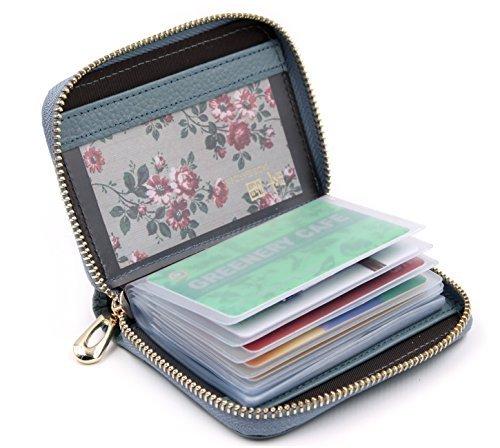 ZORESS ZORESS Damen Echt Leder Kreditkartenetui Reißverschluss Scheckkarten Kartenetui Geldbörse Visitenkartenetui (Blau)