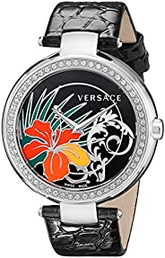 Versace Mystique Women'S Black Dial Leather Band Watch - I9Q91D9His