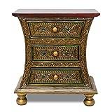 Oriental Galerie Kommode Schrank Schränkchen Dielenschrank Antik Wohnzimmerschrank Mosaik ca. 50 cm Gold Rot Grün Holz Spiegel