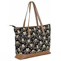 Large Ladies Canvas Oversized Re Useable Shopper Beach Holiday Travel Overnight Gym Holdall Maternity Bag (Black Owl)