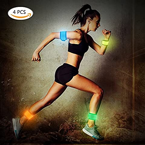 LED Light Up Band Slap Glow Bracelet,Pack of 4 Rain-proof Sports Wristband Flashing Safety Light for Running, Cycling Camping or Walking At