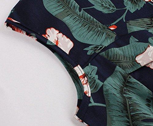 Eudolah Robe Vintage patineuse à motif sans manche swing style des années 50 Femme Vert-3