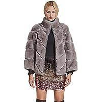 78ee50280dc2a Femme Long Vraie Fourrure de Lapin Rex Manteau Chaud Manteau Longue Manche  Col Montant - Fur