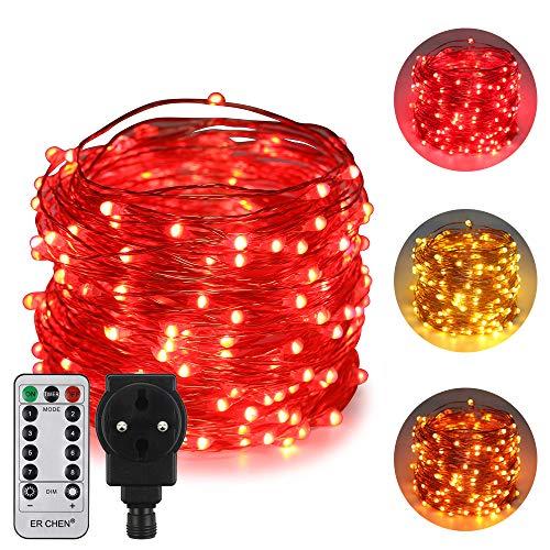n Zweifarbige LED Lichterkette, 66 FT 200 LEDs-Plug in 8 Modi Dimmbare Kupfer Draht-Lichterketten mit Fernbedienung Timer für Innen Außen Weihnachten (Rot, Warmweiß) ()