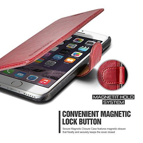 Étui iPhone 6 Plus / 6s Plus, VRS Dandy Layered Housse Téléphone [avec Fente pour Cartes] Coque Apple iPhone 6 Plus / 6s Plus Case Noir - Bordeaux Smartphone Vin Rouge / Noir