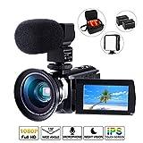 Cofunkool Videokamera, 4K Camcorder 48MP Ultra HD WiFi IPS Touchscreen IR-Nachtsicht 16X Digital Zoom Video Camcorder mit Mikrofon, LED Videoleuchte, Weitwinkelobjektiv, Schultertasche