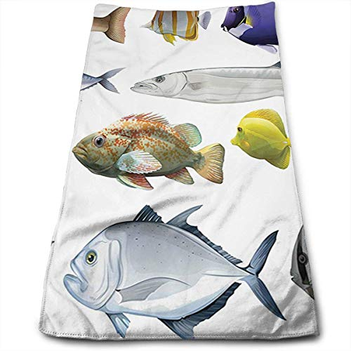 Juzijiang Type of Pacific Fish with Mackerel Salmon Towels Multi-Purpose Microfiber Soft Fast Drying Travel Gym Home Hotel Office Washcloths 12