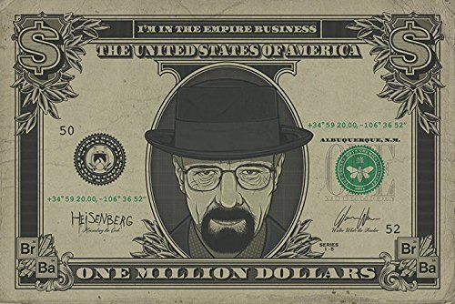 Breaking Bad Poster maxi, motivo: Dollaro con Heisenberg, in legno, multicolore