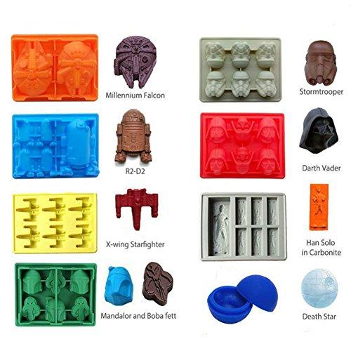 Molde de silicona para cubitos de hielo con forma de estrella de la muerte en 3D bandeja para cubitos de hielo molde de chocolate estrella de la muerte Darth Vader Hans Solo Falco