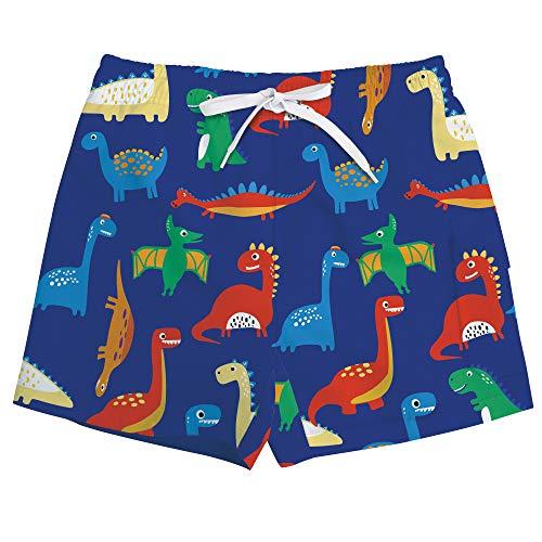 Vogseek Dinosaurier Printting Boys Blue Beach Shorts Schnell Trocken Swim Trunks Boardshorts Mit Mesh Futter S-XL - Jungen Badehose Swim Trunks