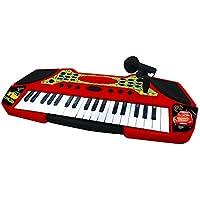 Lexibook K710DC - Tastiera elettronica Disney Cars 3, 37 tasti, microfono incluso, Strumento musicale ludico, Con guida didattica, A batterie, Nero/Rosso