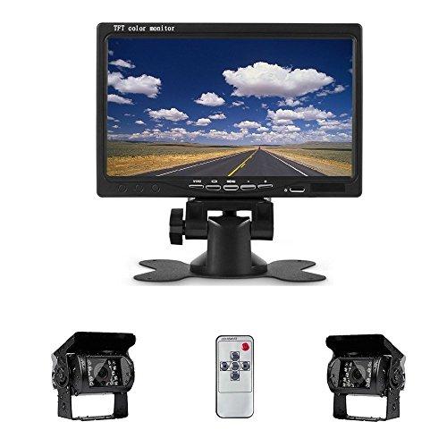 Camecho Rckfahrkamera 7-Zoll-TFT-LCD-Monitor Nachtsicht wasserdicht 2 * 18 IR-LED-Rckfahrkamera, fr 12V 24V RV LKW-Anhnger-Bus