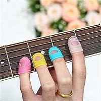 EFORCAR 4 En 1 Protector de dedos de la guitarra del dedo protectores de silicona para Ukulele L Tamaño