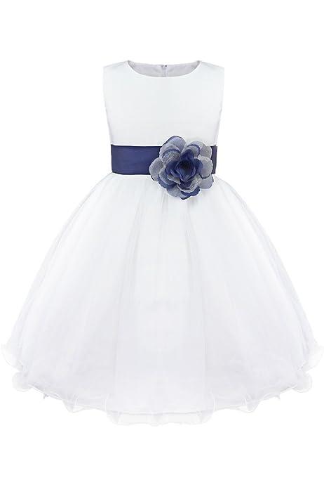 IEFIEL Vestido de Flores Blanco Niña Disfraz Princesa Infantil Vestido Boda Fiesta Ceremonia Bautizo Vestido de Bautismo Falda con Flores Elegante Amarillo 2 años: Amazon.es: Ropa y accesorios