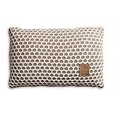 Knit Factory 1081353 Dekokissen Strickkissen Mila mit Füllung, 60 x 40 cm, Marron/Beige