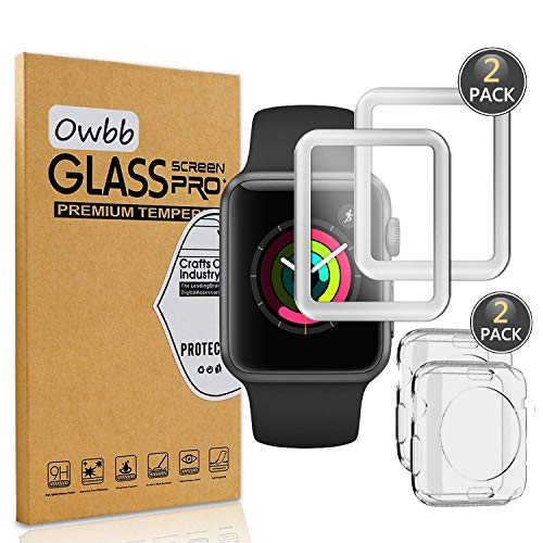 Owbb [2 Stück] Gehärtetes Glas Bildschirmschutzfolie Für for Apple Watch 38mm Version Series 1, Series 2, Series 3 Smartwatch 3D Full Coverage 9H Härte Schutz (Silber Vorderer Film + TPU Softcase)