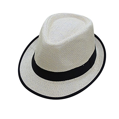 Saingace Strohhut Damen Schlaff Strand Hut für Frauen Große Krempe Stroh Sonnenhüte Aufrollen Packbar UPF - Mann Im Gelben Hut Kostüm Kleinkind