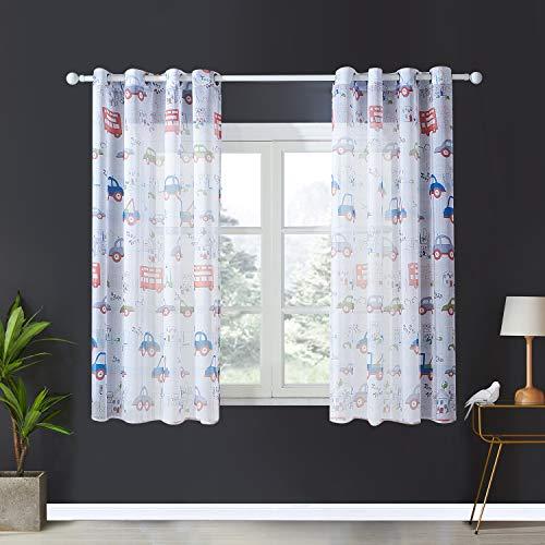 Topfinel Kinder Vorhänge mit Ösen Auto Transparent Lichtdurchlässige Kurze Gardinen Voil und Tüll für Kinderzimmer Fenster 2er Set je 137x117cm (HxB)