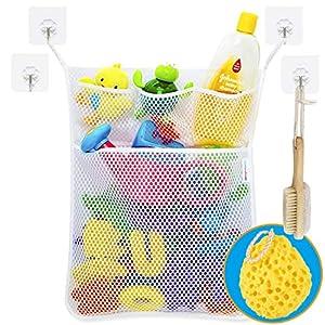 Wemk Bad Spielzeug Organizer Bad Spielzeug Netz Badespielzeug Lagerung Badewanne Spielzeugnetz mit 4 Selbstklebend Haken & Badeschwamm