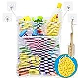 Wemk Cuarto de baño de almacenamiento de juguete de almacenamiento de red Bolsa de juguete con 4 ganchos...