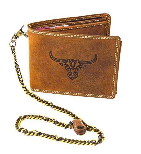 Hergestellt in Handarbeit Büffel Wild Leder Herren Geldbeutel mit Hosenkette (Bernstein Herren-geldbörsen)