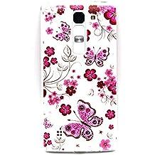 Voguecase® Para LG Magna/LG G4c TPU Funda de Silicona de Gel Carcasa Tapa Case Cover (Rose flor de mariposa) + Gratis aguja de la pantalla stylus universales