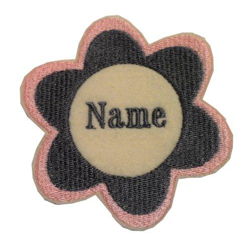 Ricamo floreale adesivo Sew On/On di ferro/personalizzato nome Badge Dimensioni: 9x 9cm, ivory, Da stirare