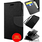 sixsenses * New * HTC Desire 820 Case Wallet Black Leather Flip Card + 2 Screen Protectors
