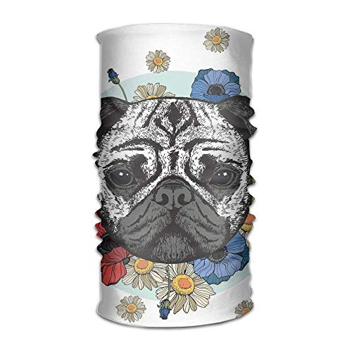 Women's Men Turban Black and White Head of A Pug On Floral Arrangement with Beautiful Flowers Daisies Campus Headwear -