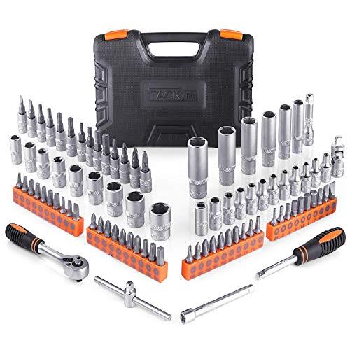 Steckschlüsselsatz, TACKLIFE 87-teilig 1/4 Zoll Steckschlüsselsätze mit Steckschlüssel, Ratschenschlüssel und Bits - SWS4A
