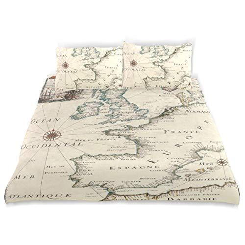 Vipsa Bettwäsche-Set Retro Weltkarte Muster 3-teilig 100% Baumwolle mit Reißverschluss Bio-Modern Comforter Set Full/Queen (Bettwäsche Bio-queen Set)