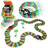 YeeHaw Flexible & Bendable Glow In The Dark Twister Track Set Toy With Led Lights Racing Car (132 PCS)