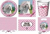 49-teiliges Party Set weisses Pferd Kindergeburtstag Geburtstag Party Fete Feier 8 Teller, 8 Becher, 16 Servietten, 8 Einladungskarten, 8 Partytüten, Tischdecke