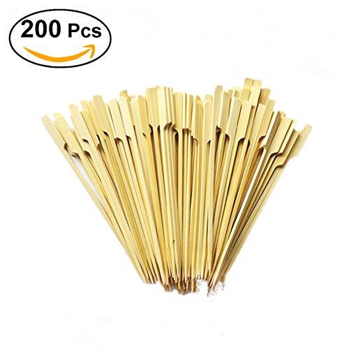 200 Holz-Bambusspieße/Stäbchen für Grill, Obst, Schokoladenbrunnen, Fondue, 18 cm