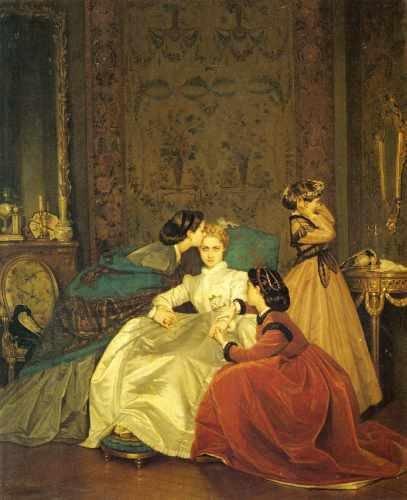 Box Canvas Print (Toulmouche Auguste The Reluctant Bride A3 Box Canvas Print)
