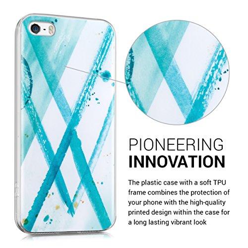 kwmobile Hülle für Apple iPhone SE / 5 / 5S - TPU Silikon Backcover Case Handy Schutzhülle - Cover klar Weltkarte Umriss Design Gold Transparent Aquarell Abstrakt IMD Mintgrün Blau Weiß