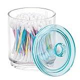 mDesign Kosmetik Aufbewahrungsglas – Glasbehälter mit Deckel zur trockenen Aufbewahrung von Badesalz, Wattepads etc. – vielseitiger Kosmetik Organizer für den Waschtisch – durchsichtig und blau