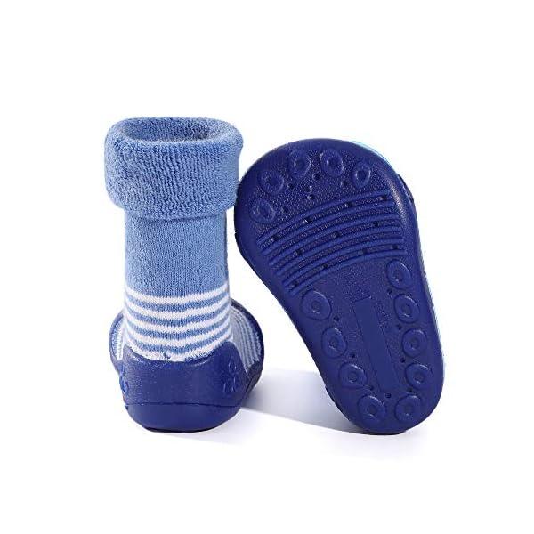 LACOFIA Zapatos de Calcetines Antideslizante de bebé niñas niños Botas de calcetín con Suela de Goma para bebé Unisex 4