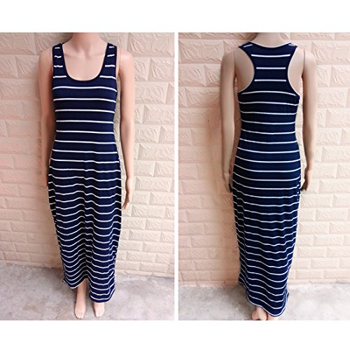 JXLOULAN Des femmes des manches rondes rayures cou Robe robe de plage Bleu