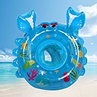 bestllin Swimming Ring Carton Crabs Baby Pool Float Ring Seat Boat with Swim Safety Handles Kids Toddler with Environmentally Friendly Materials(bue)