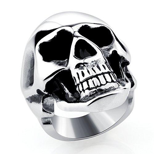 Vintage Skull Edelstahl Ringe Gothic Bands für Männer Party Schmuck Ostern Halloween Band (Halloween Zubehör Bei Ebay)