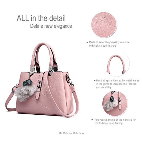 Miss Lulu Brand Designer Handbag Borse a più scomparti Spalla in pelle sintetica Borse per donna Rosa