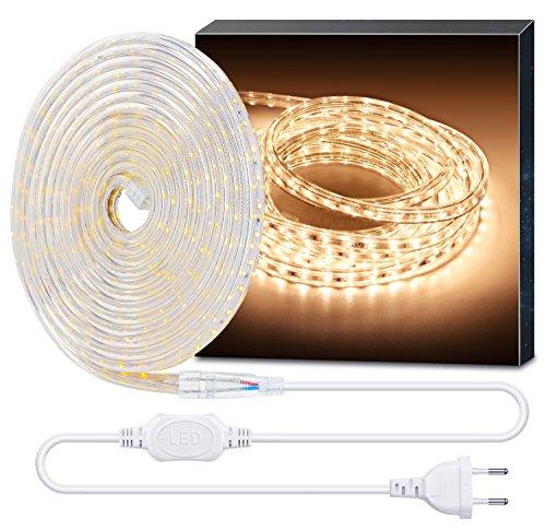Minger 10m LED Streifen, 300 LEDs wasserdicht 210V-240V LED Strip, 3000K warmweiss LED Kette für DIY Dekoration von Urlaub, Haus, Küche, Garten, Bar, Party